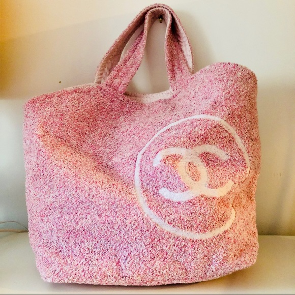 d3e3228922db Chanel pink toweling tweed beach bag